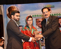 Prof. Dr. Ehsan Malik presented Gold Medal & Award to Kashaf ul Emaan 2nd Overall Multan (2017)