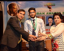 Prof. Dr. Samia Kalsoom presented Gold Medal & Award to Usama Ikram 1st General Group Lahore (2017)