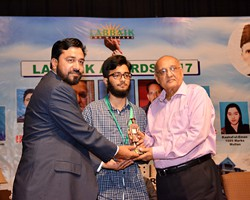 Amjad Islam Amjad presented Gold Medal & Award to Shayan Waheed 2nd Overall Lahore (2016)